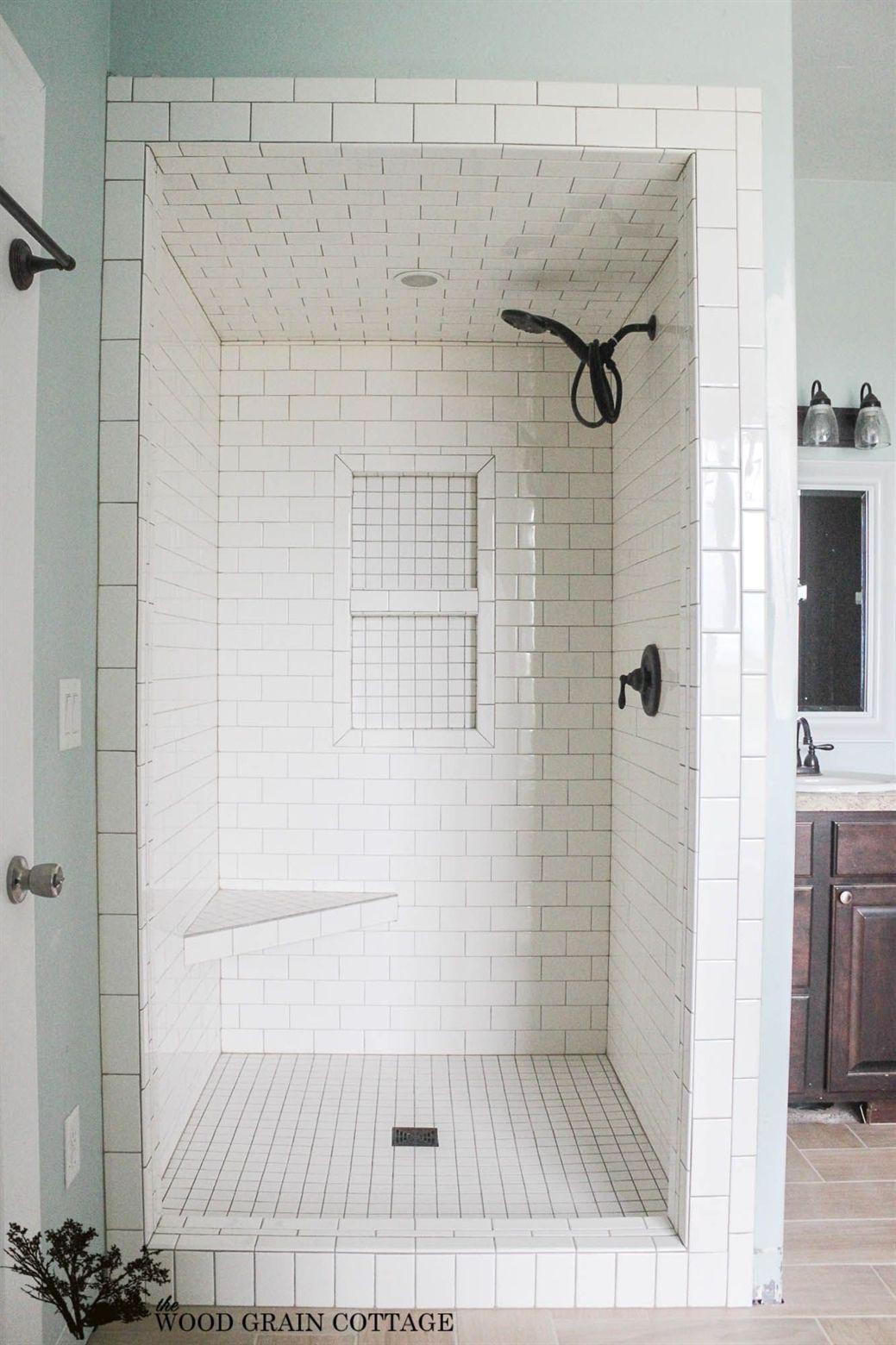 New Master Bathroom Tile The Wood Grain Cottage Small Bathroom With Shower Master Bathroom Renovation Shower Remodel