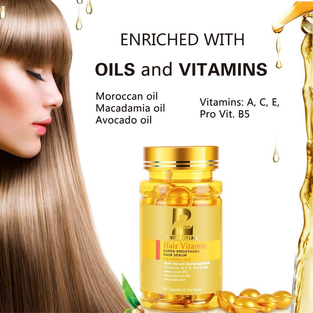 Hair Serum Hair Vitamins With Argan Oil Macadamia And Avocado Oils Vit A C E Pro Vit B5 50 Capsules Oil Perfect L Hair Serum Hair Vitamins Hair Shampoo