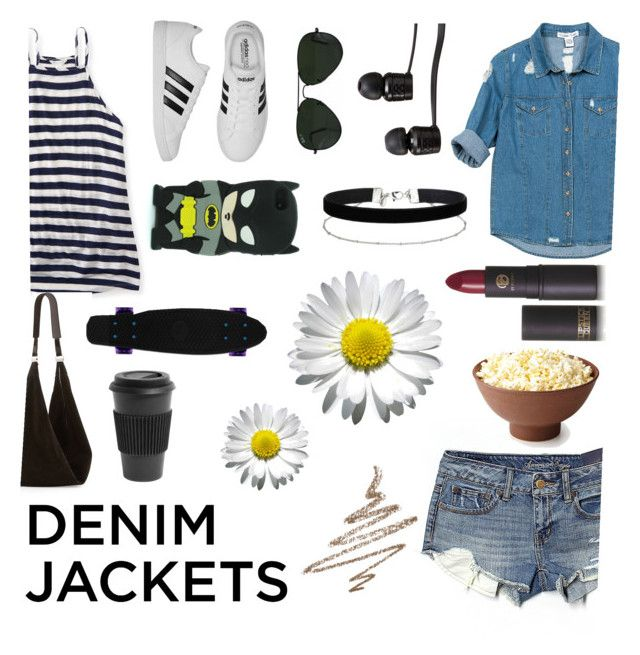 """""""Denim Jacket"""" by xheartit101 on Polyvore featuring Aéropostale, American Eagle Outfitters, Sans Souci, adidas, The Row, Vans, Ray-Ban, Miss Selfridge, Lipstick Queen and Homage"""