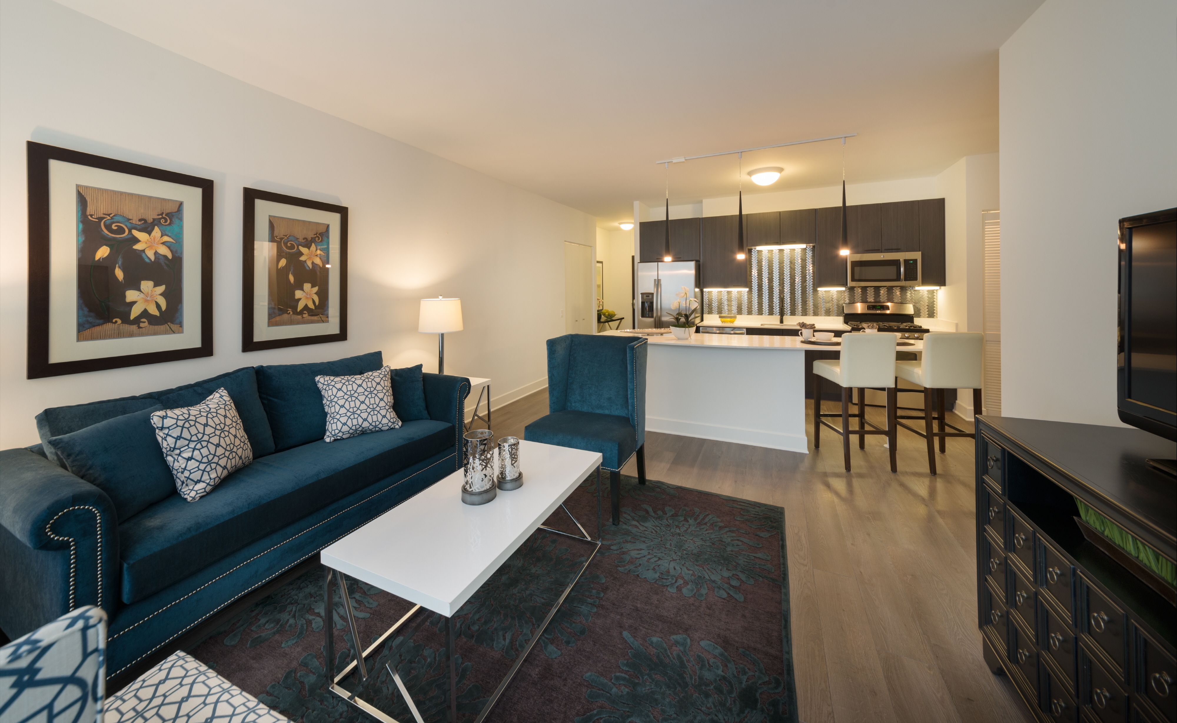 Spacious living room and kitchen of onebedroom model www