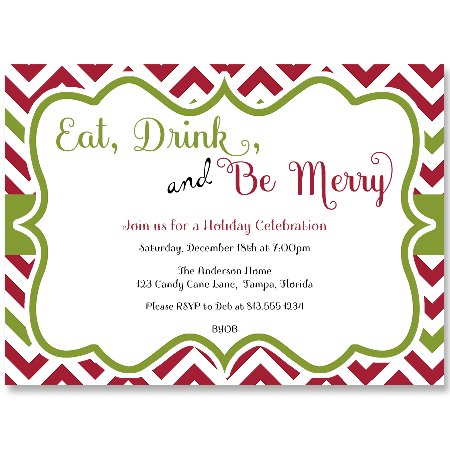 Chevron Christmas Party Invitation  Chevron Christmas Party