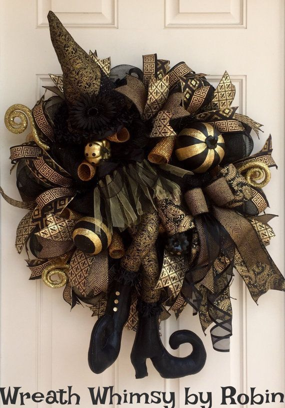 Black  Gold Deco Mesh Deluxe Halloween Witch Wreath, Fall Wreath - witch decorations