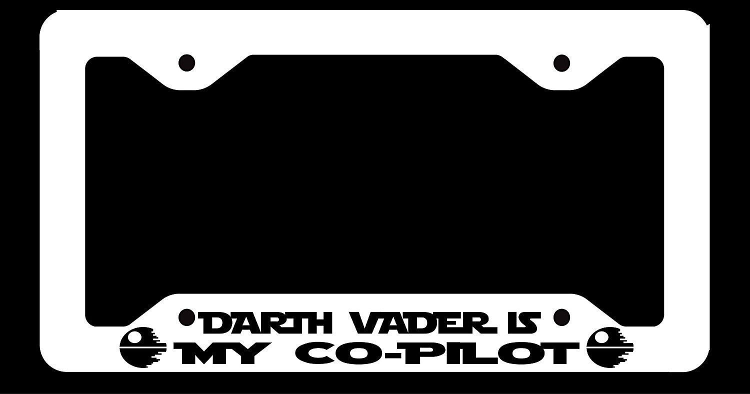 My Co Pilot Is Darth Vader Aluminum License Plate Frame