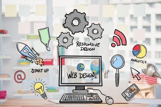 Web design concept with drawings Free Ph... | Free Photo #Freepik #freephoto #logo #business #design #technology