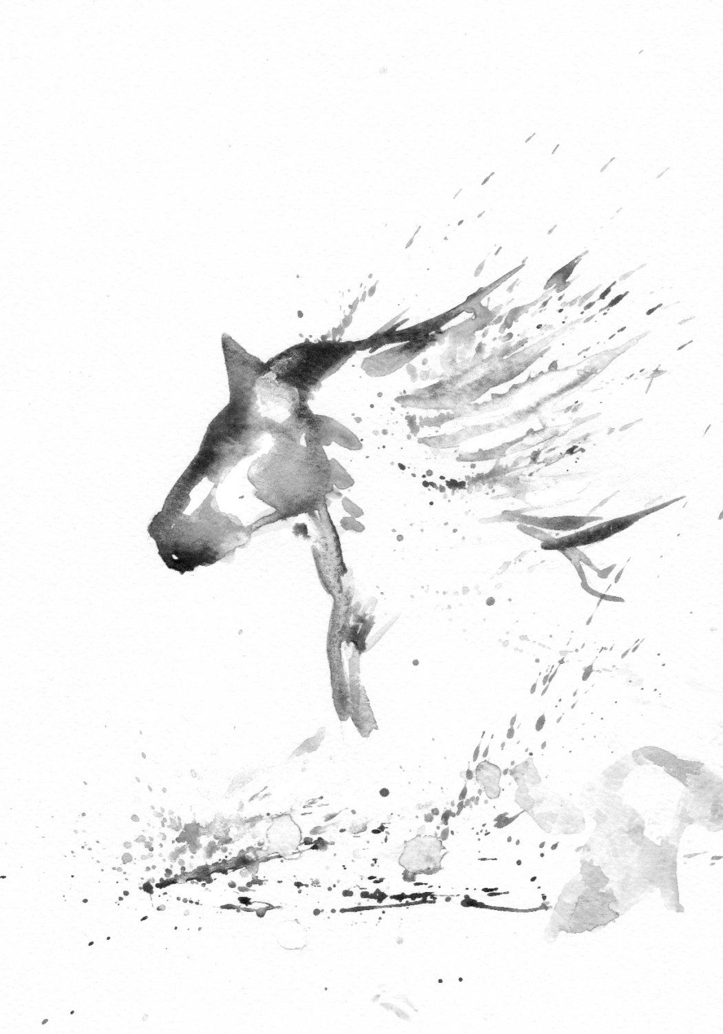 Zen In BW Art Watercolor Painting Print Original Animal Horse Home Decor Illustration Black And White