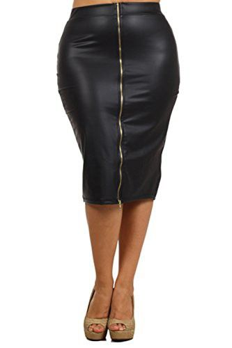 465c63c88da Bubble B Women s Plus Size Faux Leather Front Zipper Midi Skirt Solid Black  1X