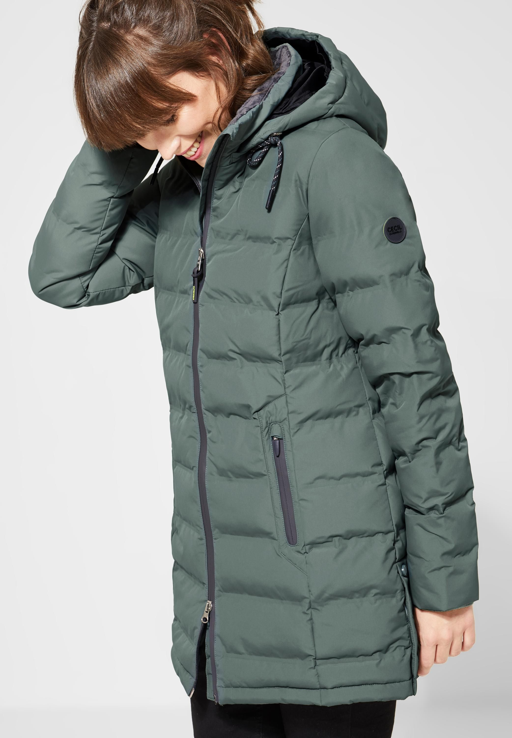 CECIL Wattierter Outdoormantel in Fog Green | Damenmode