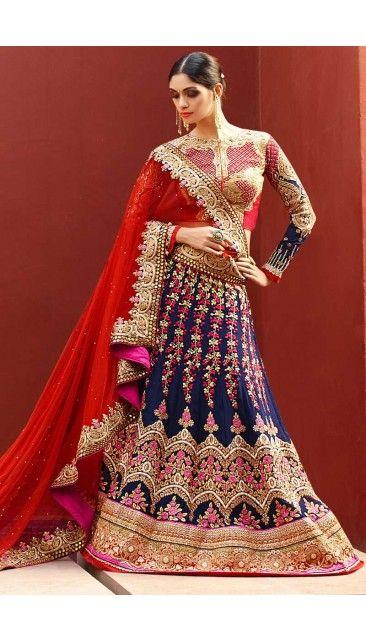 Red Art Silk Lehenga Choli and Net Dupatta - DMV8514