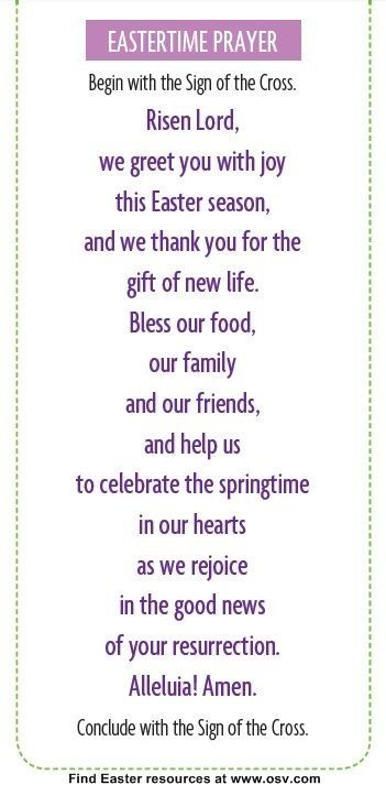 Easter Meal Prayer Catholic For Young Children Google Search