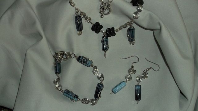 I made this.....it is up for auction on Tophatter for Saturday, June 2 on standby in the nighttime bazaar.....This is a SWEET set.  All links are handmade, except for the top part of the necklace which is sterling plate chain.