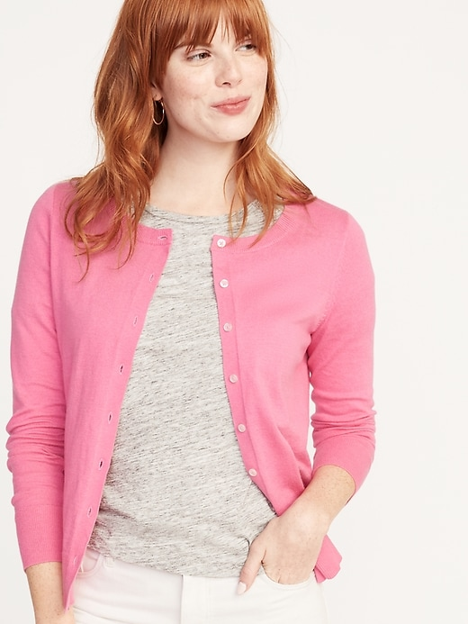 Semi,Fitted Button,Front Cardi for Women