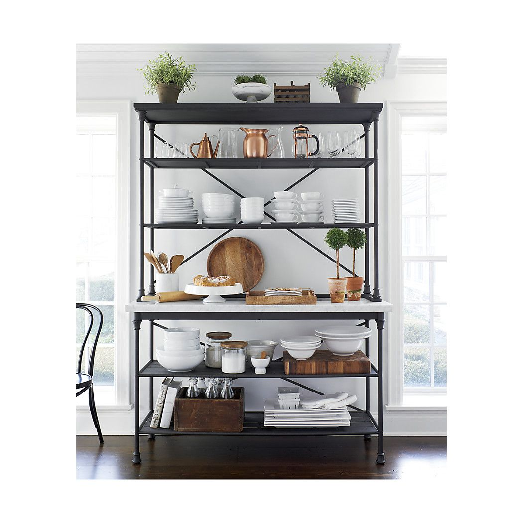 Genial French Kitchen Bakers Rack With Hutch