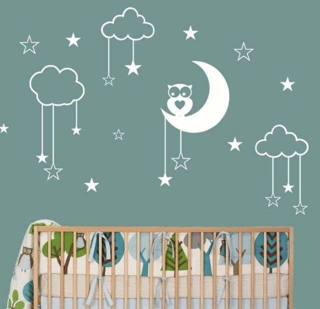 Des Stickers Chambre Bébé Muraux   Nuages, étoiles Et Chouette Blancs