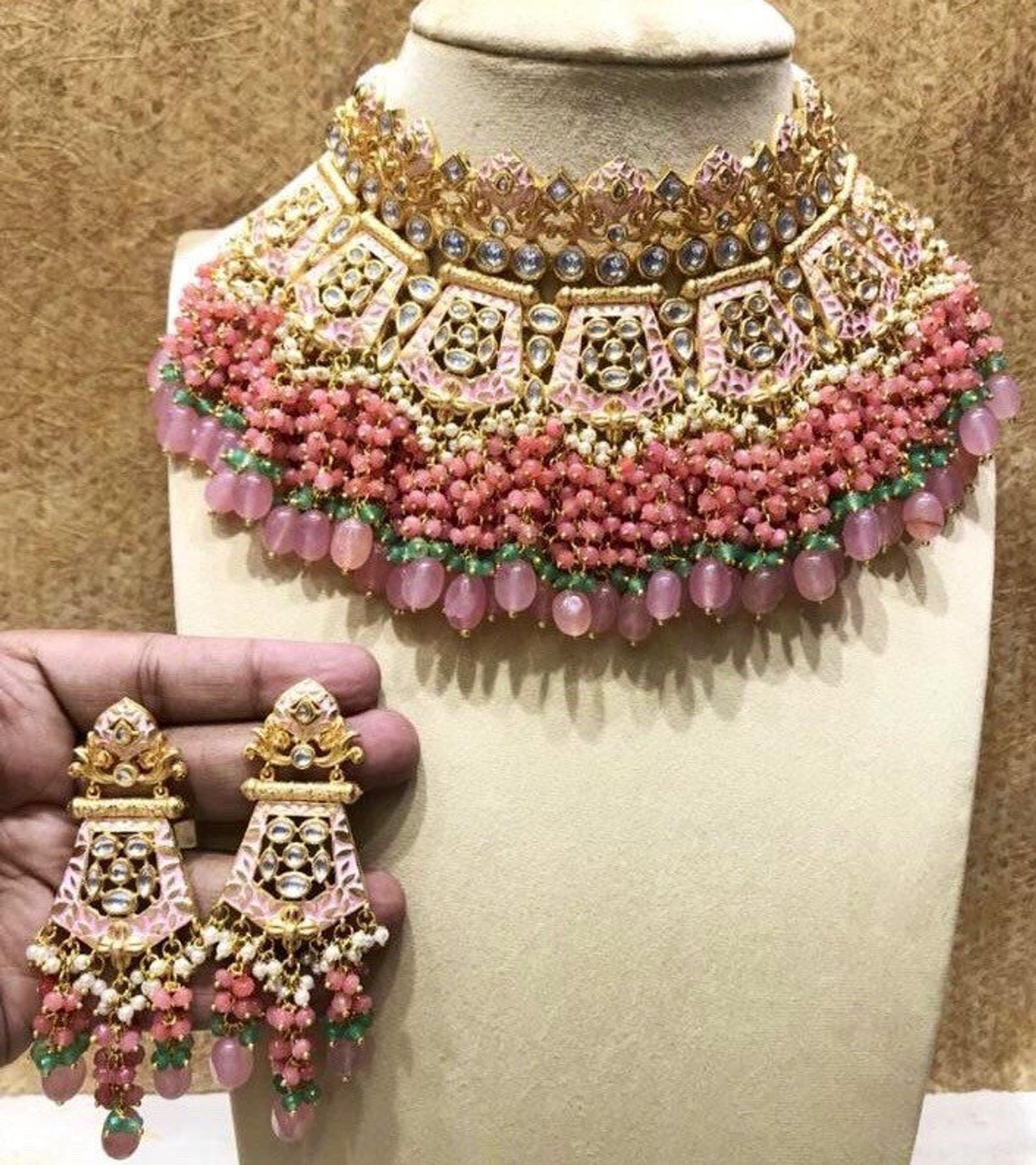 Choker Bollywood Wedding Party Jewelry Set Elegant Desing Meena Kundan Jewelry Handmade Choker Necklace Earrings Set White