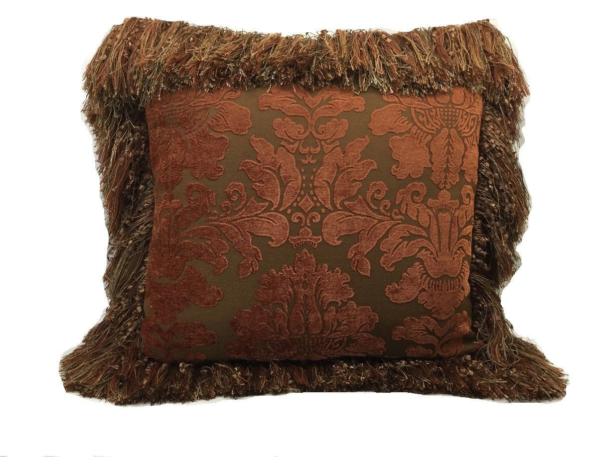 Sofa Pillow Terra Cotta Chenille With Fringe 21 X Only 4 Available