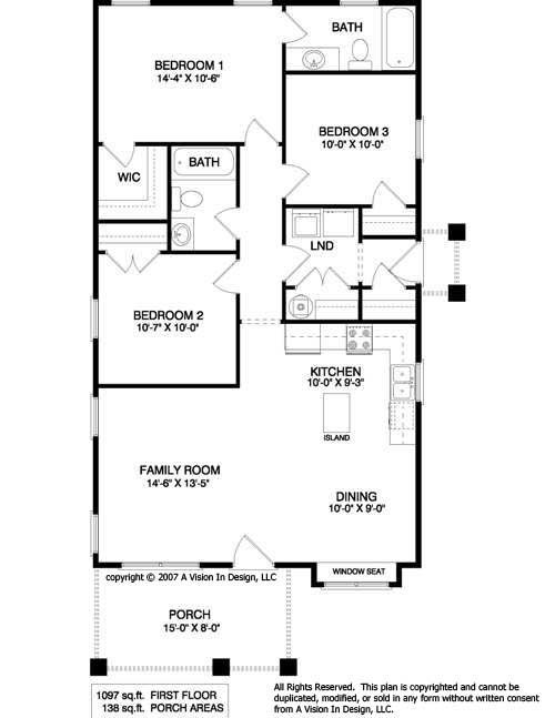 Small home designs ranch house plan small house plans for Three bedroom cabin plans