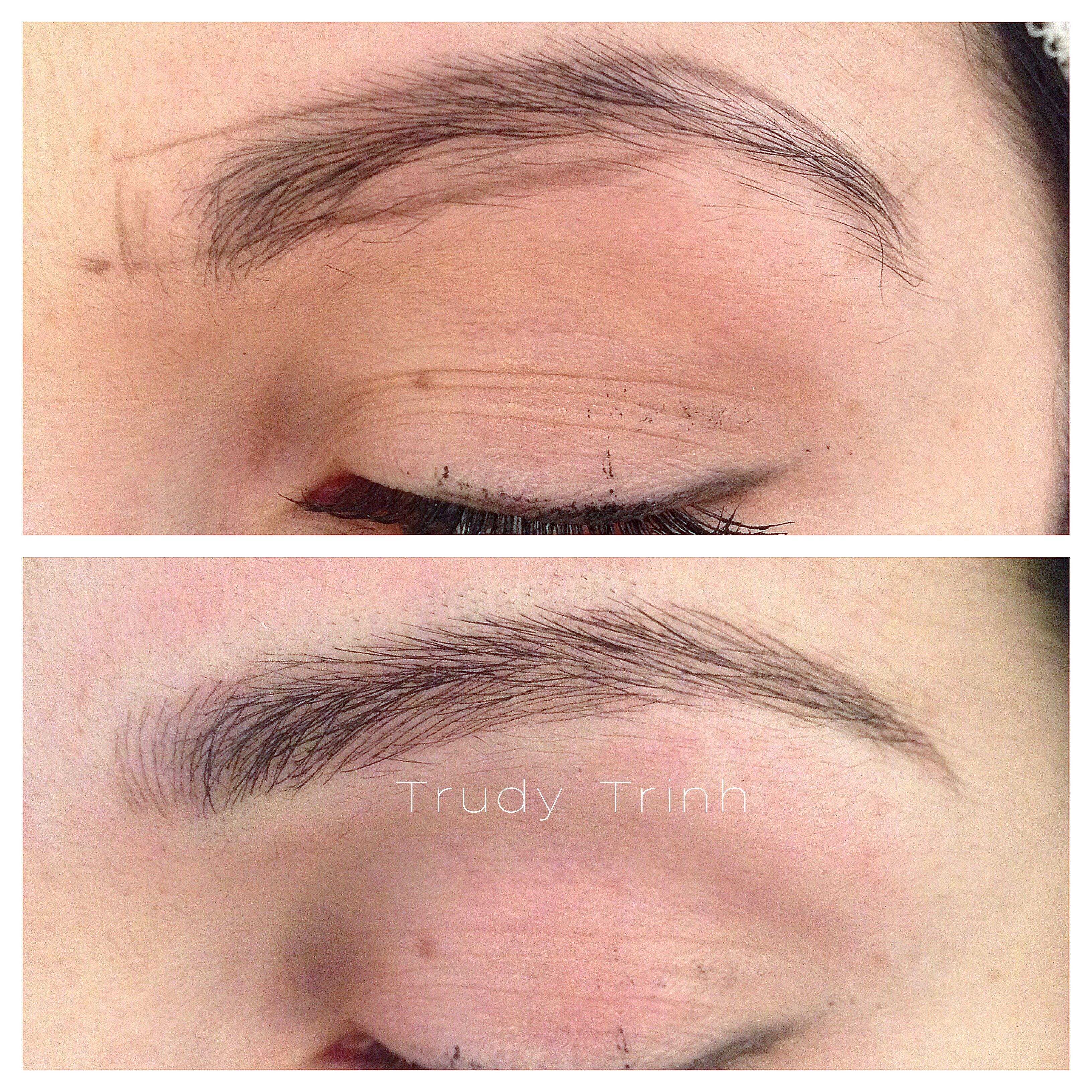 Microblading hairstrokes to create a longer, more flattering eyebrow. www.naturalimpressions.biz