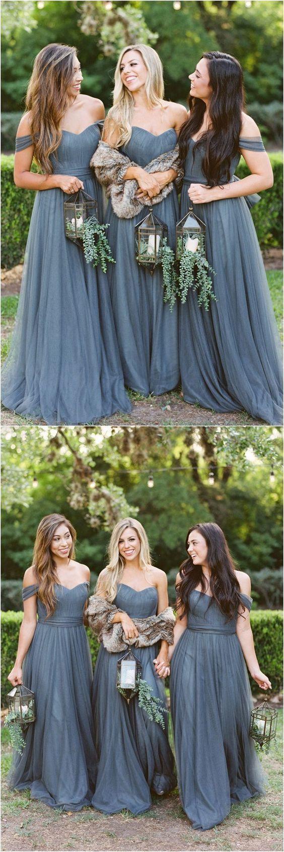 Simple grey tulle bridesmaid dress off shoulder long bridesmaid
