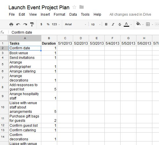 how to create project plan in excel