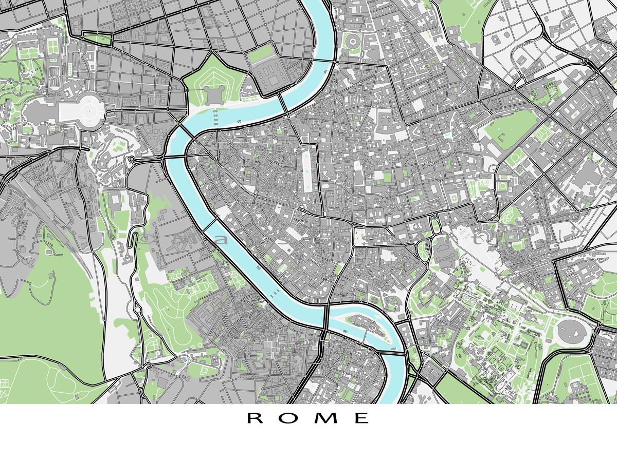 Rome Map Print Rome Italy Travel Art Print Roma Buildings