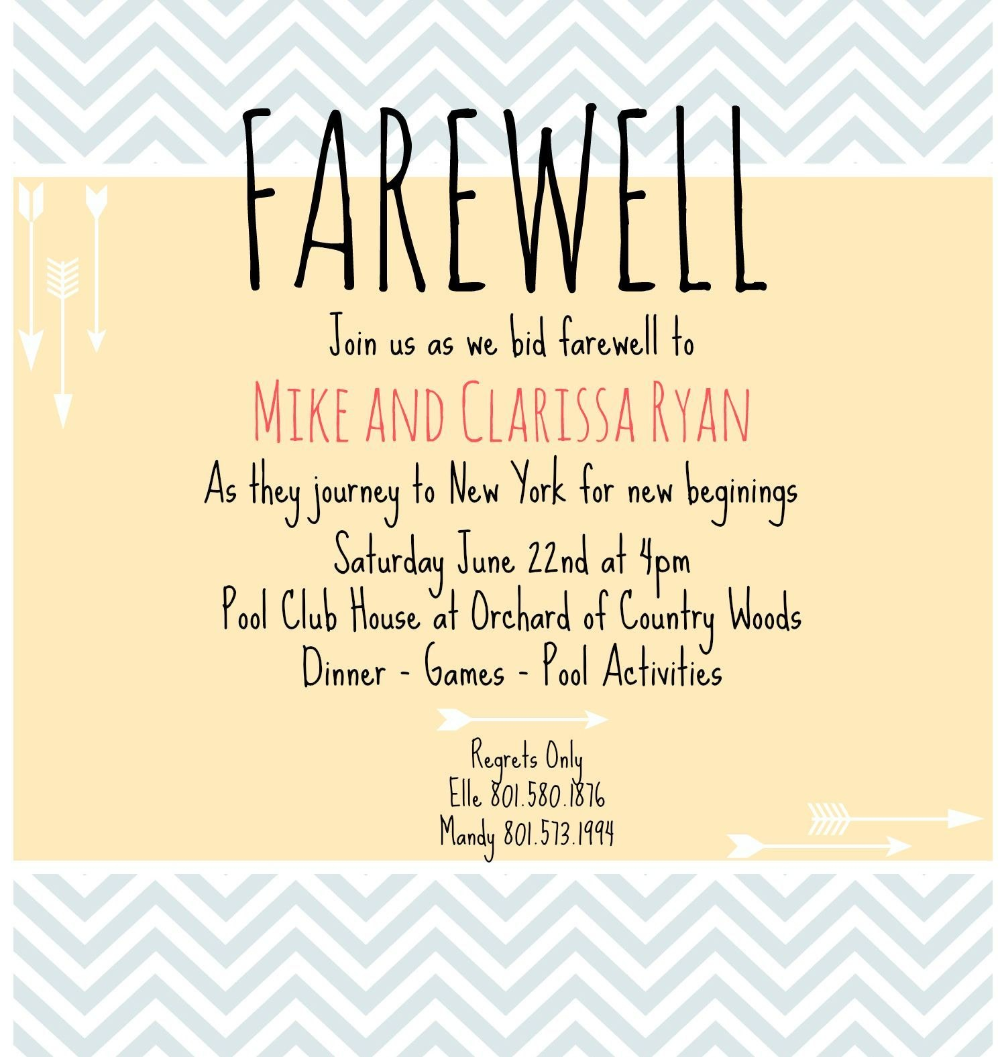 Farewell Party Invitation Wording For The Office Interior Design