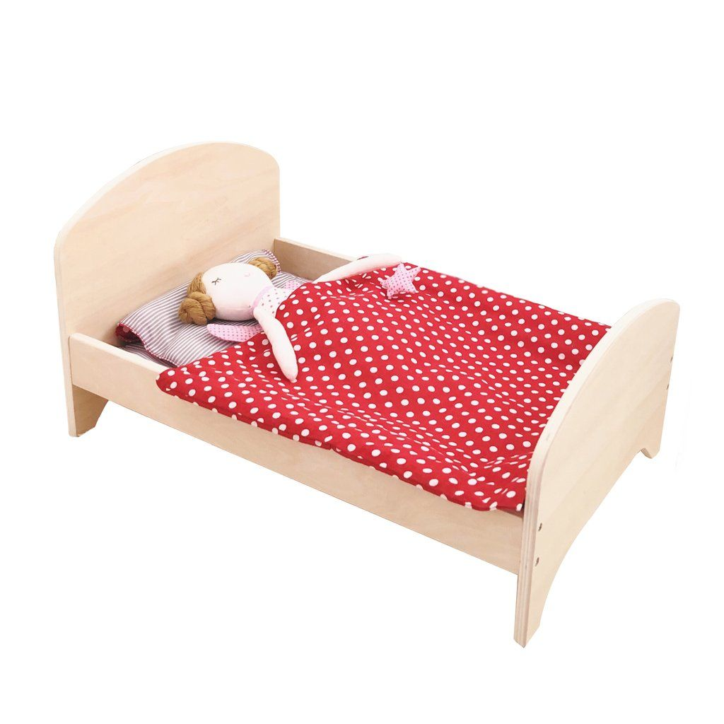 Wooden Doll Bed + Bedding Set (Red)   Wooden dolls, Bed ...