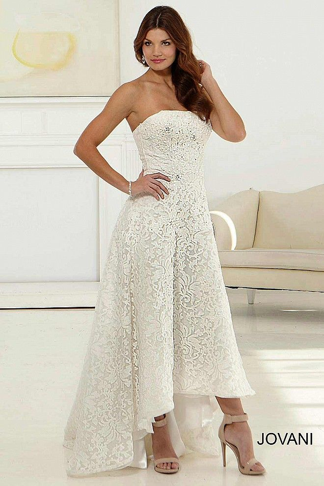 Strapless Simple Lace Hi Low Off White Wedding Dress With Intricate