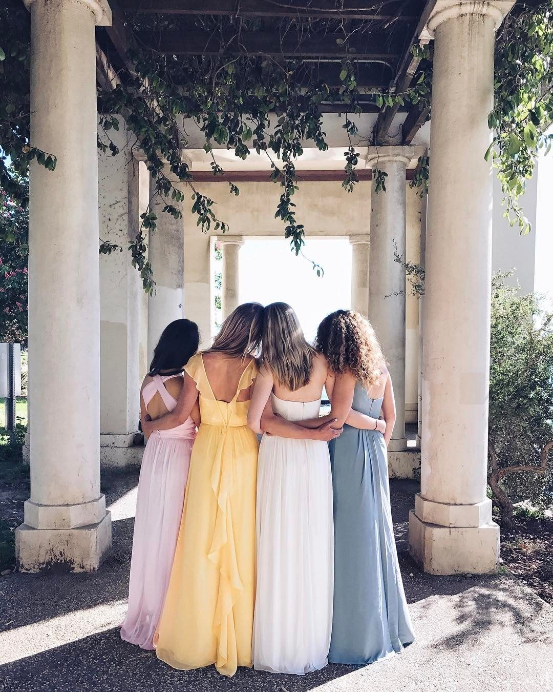 An unexpected mix of bridesmaid colors and bridesmaid dress