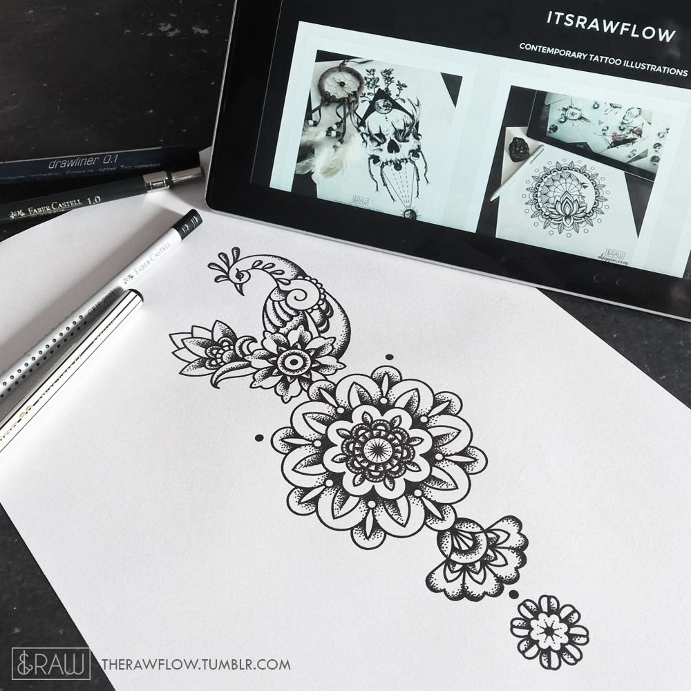 Mehndi Inspired Peacock With Mandala Flowers Would Look Really Solid On Forearm Ribs Or Thi Lotus Flower Tattoo Design Tattoo Designs Mandala Flower Tattoos