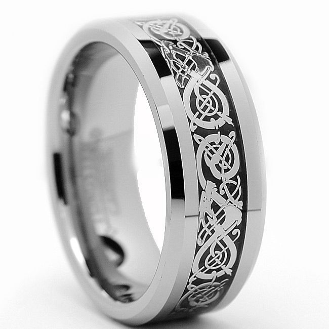 Sport A Unique, Highly Polished, Ornate Menu0027s Tungsten Carbide Ring With An  Intricate Dragon