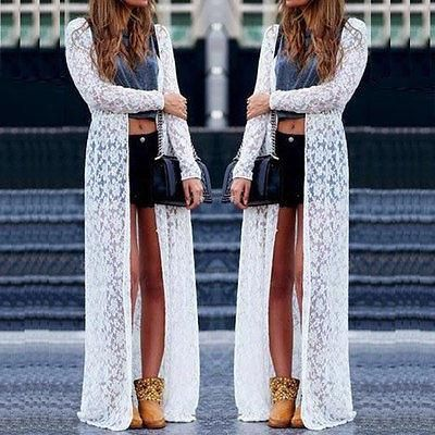 Womens Summer Casual Chiffon Lace Long Sleeve Boho Maxi Cardigan ...