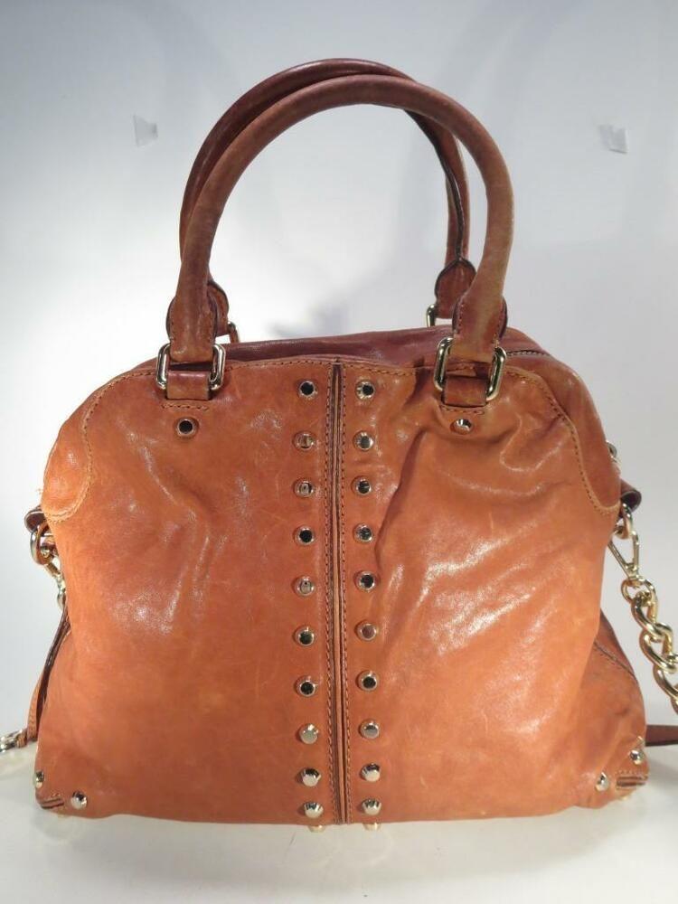 5c6d1fb3b355de Michael Kors Astor Uptown Tan Luggage Studded Handbag Shoulder Bag * # MichaelKors #ShoulderBag