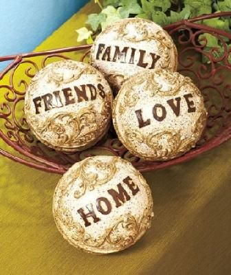 """Home Decor Balls Decorative Words Balls """"family"""" """"friends"""" """"love"""" And """"home"""