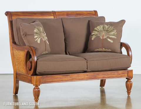image of wood frame loveseat with cushions - Wood Frame Loveseat