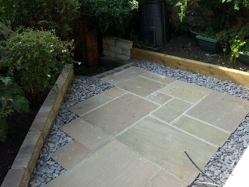 Paved Patio Area With Slate Chippings