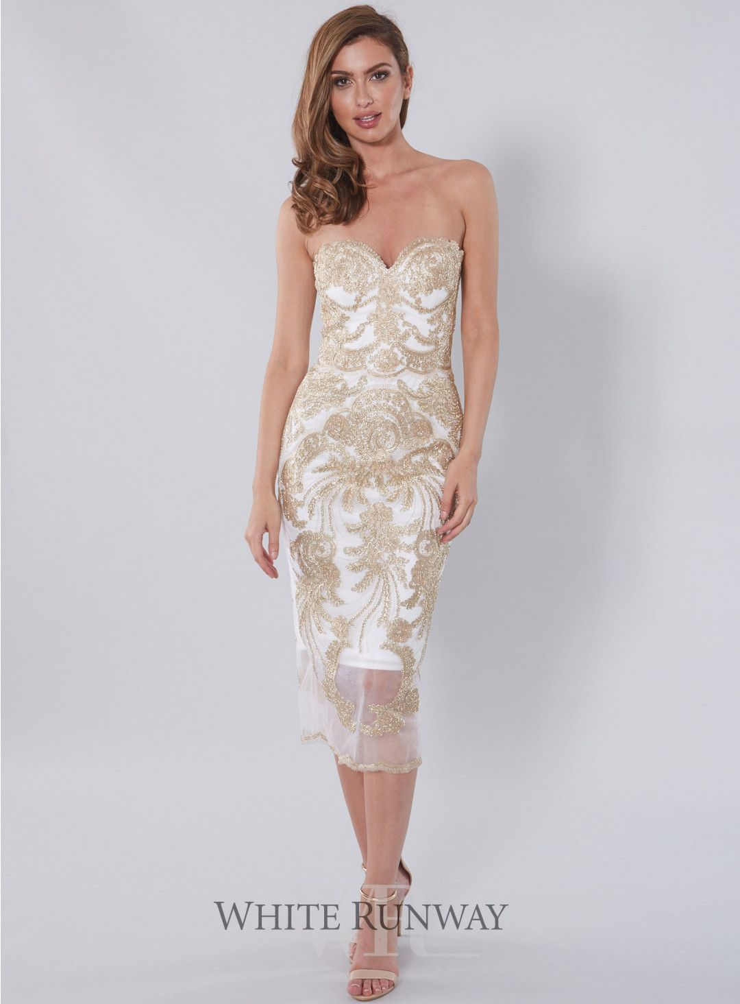 60fb98ddf84 Mamita Dress. A stunning midi dress by Jadore. A fitted strapless style  featuring a gold lace applique.