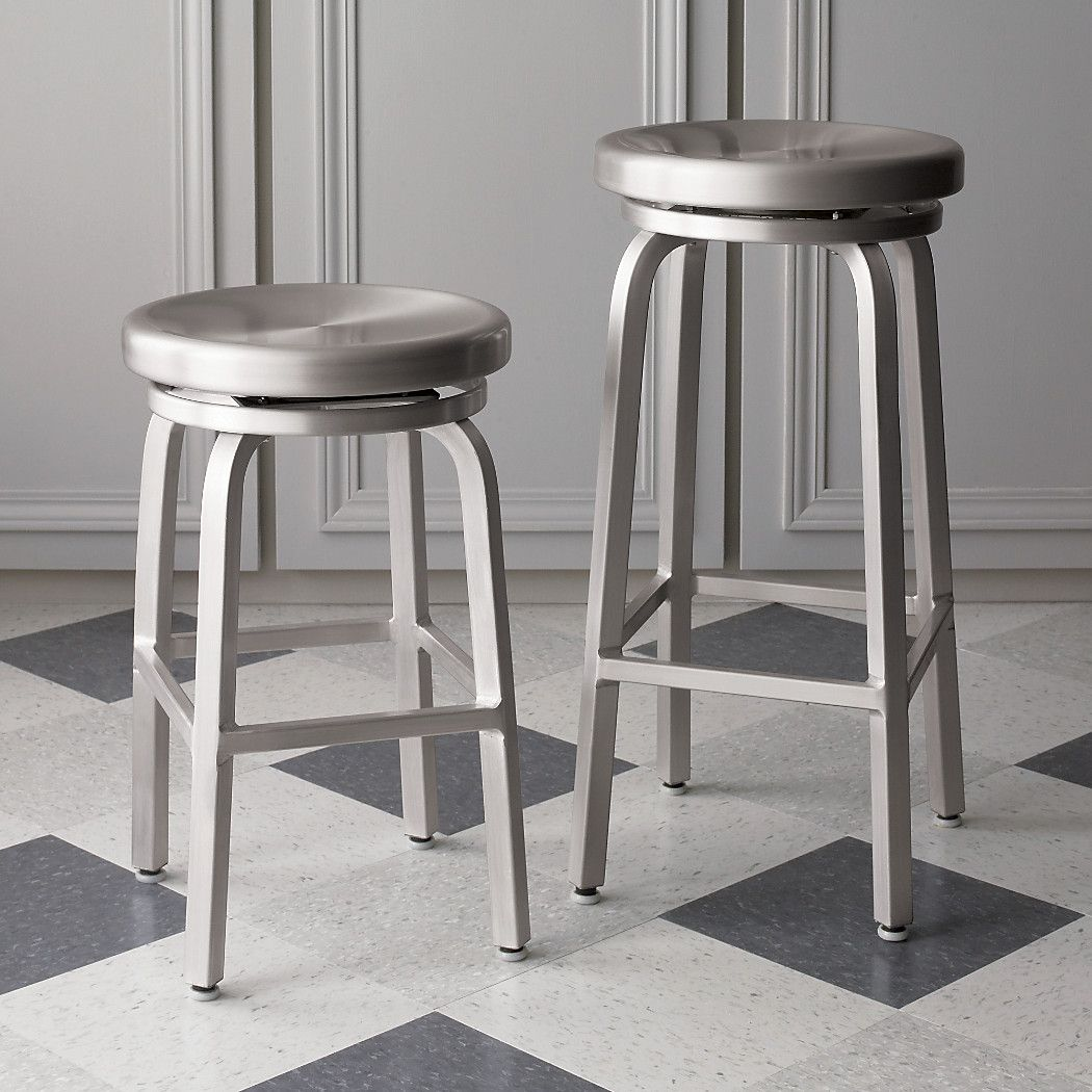 Spin Swivel Backless Bar Stool Crate And Barrel