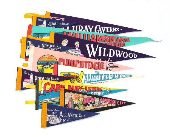 Vintage pennants on Etsy could be cute in the playroom