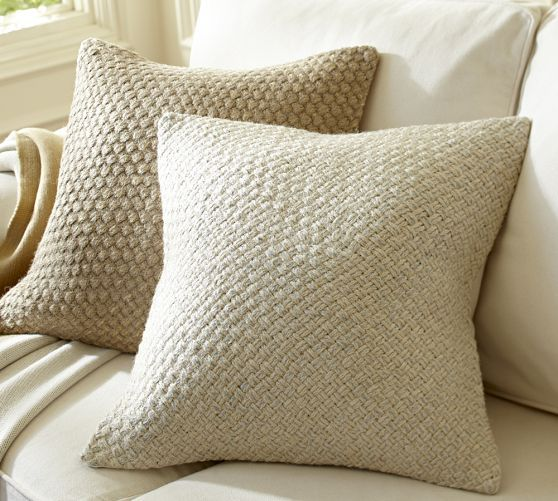 Textured And Natural Pillows For Sofas Woven Metallic Jute