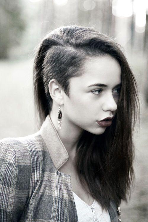 side-cut hair. id