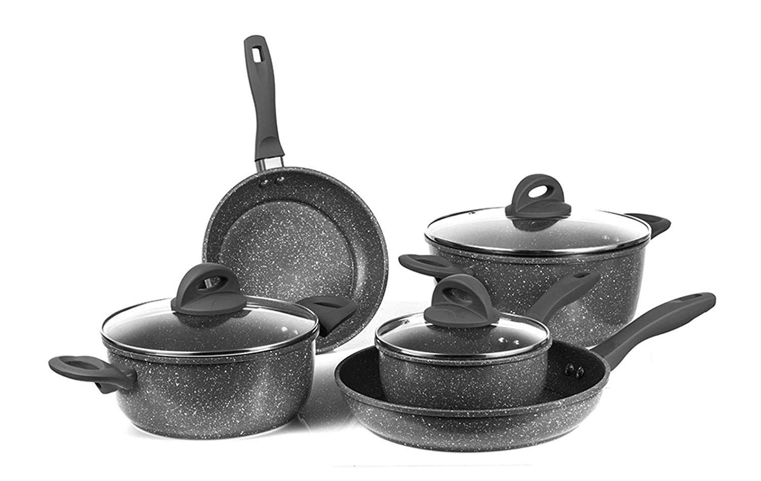 Nonstick Cookware Set Pots And Frying Pan Set With Glass Lids Oven