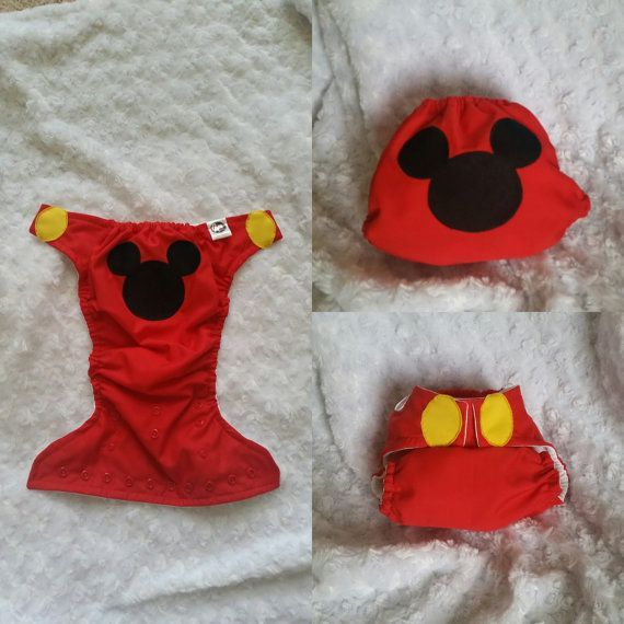 Mickey Mouse Diaper Cover or Pocket Diaper for your lil one! Art is stitched (appliquéd) onto an outer cotton layer and does not interfere