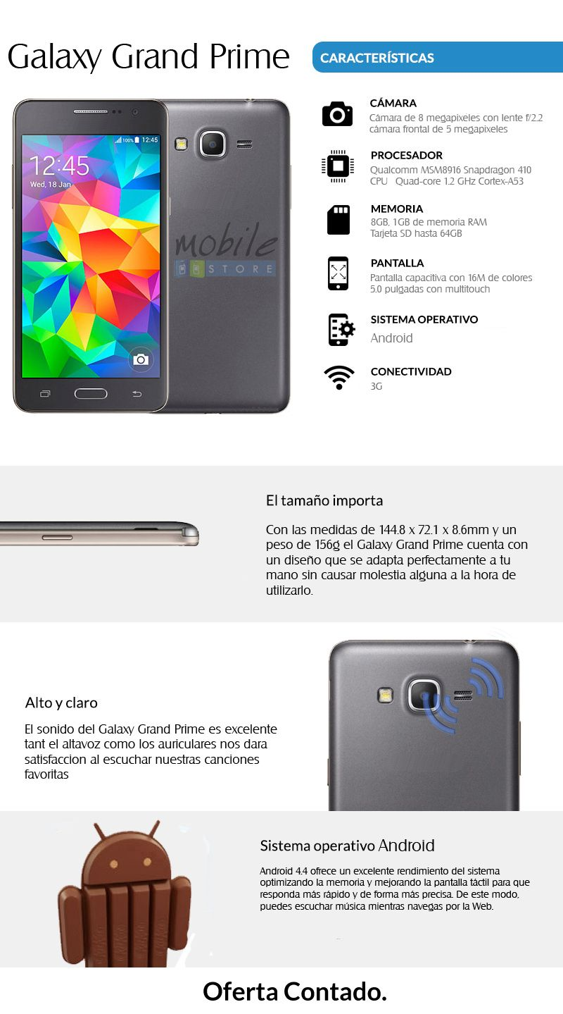 bf21f18cf33 Samsung Galaxy Grand Prime, Android, Quadcore, Oferta! - U$S 189,00 ...