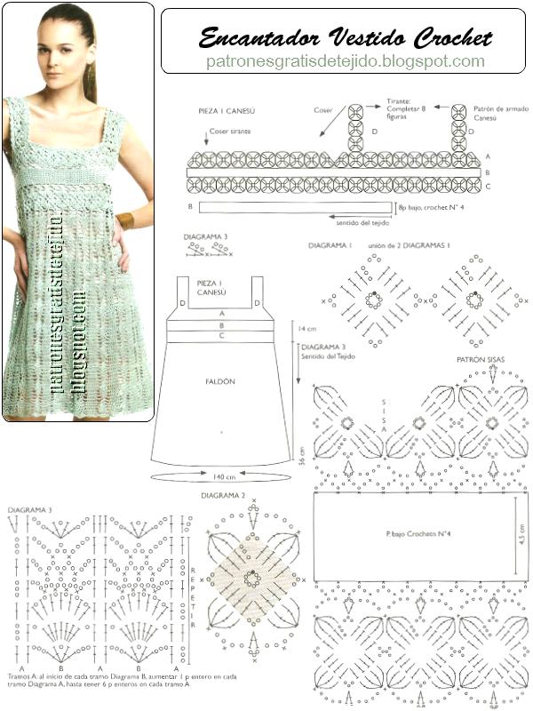 Patrones y moldes de vestido tejido al crochet | Crochet | Croché ...