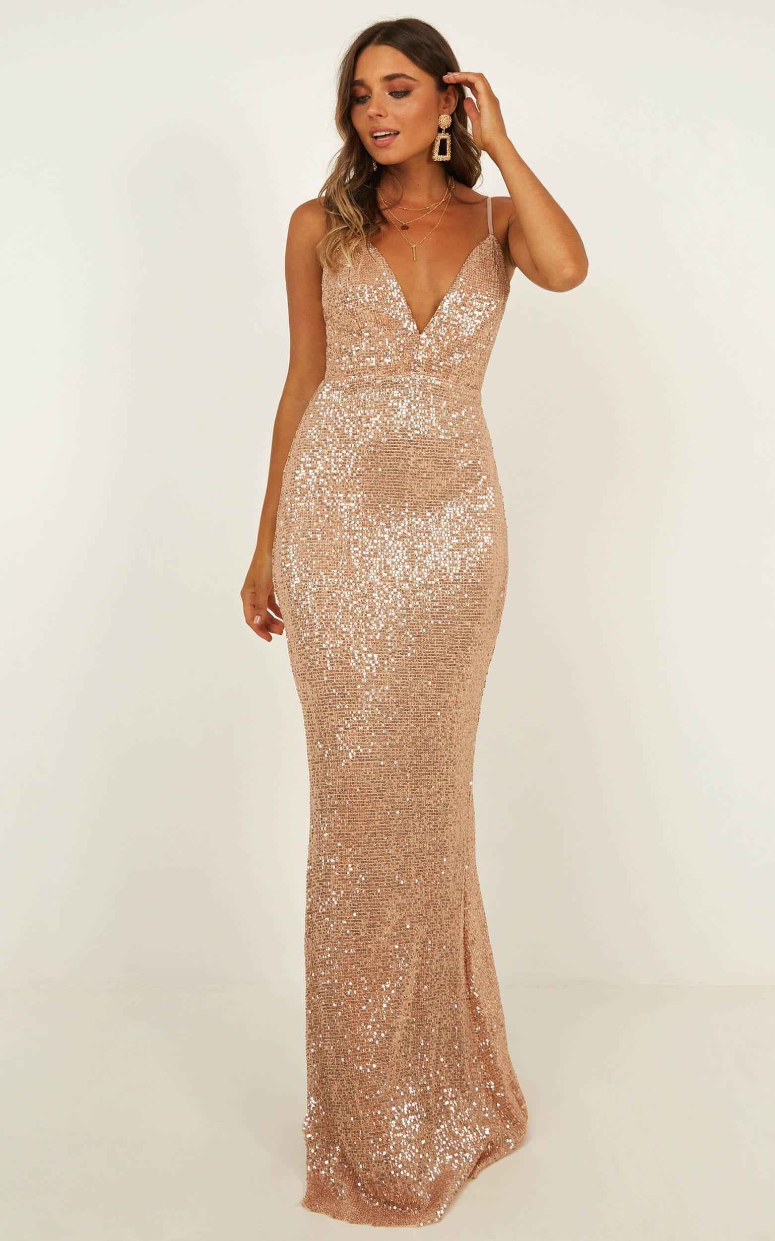 Indulge Me Maxi Dress In Rose Gold Sequin Showpo Dresses Occasion Dresses Formal Occasion Dress [ 2500 x 1562 Pixel ]