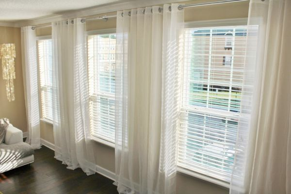 Image Result For One Curtain Rod Across Two Windows
