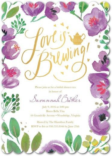 love is brewing perfect tea party bridal shower invitation invite