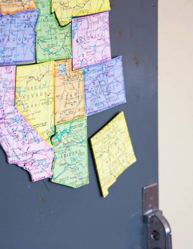 United States Map Magnets.Turn A Map Of The United States Into A Fun Magnet Puzzle Diy Diy