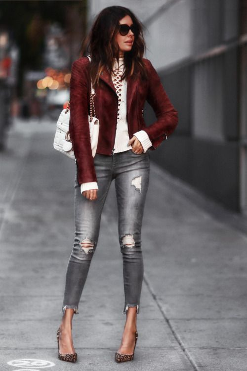 f71338303a burgundy leather jacket and leopard print pumps