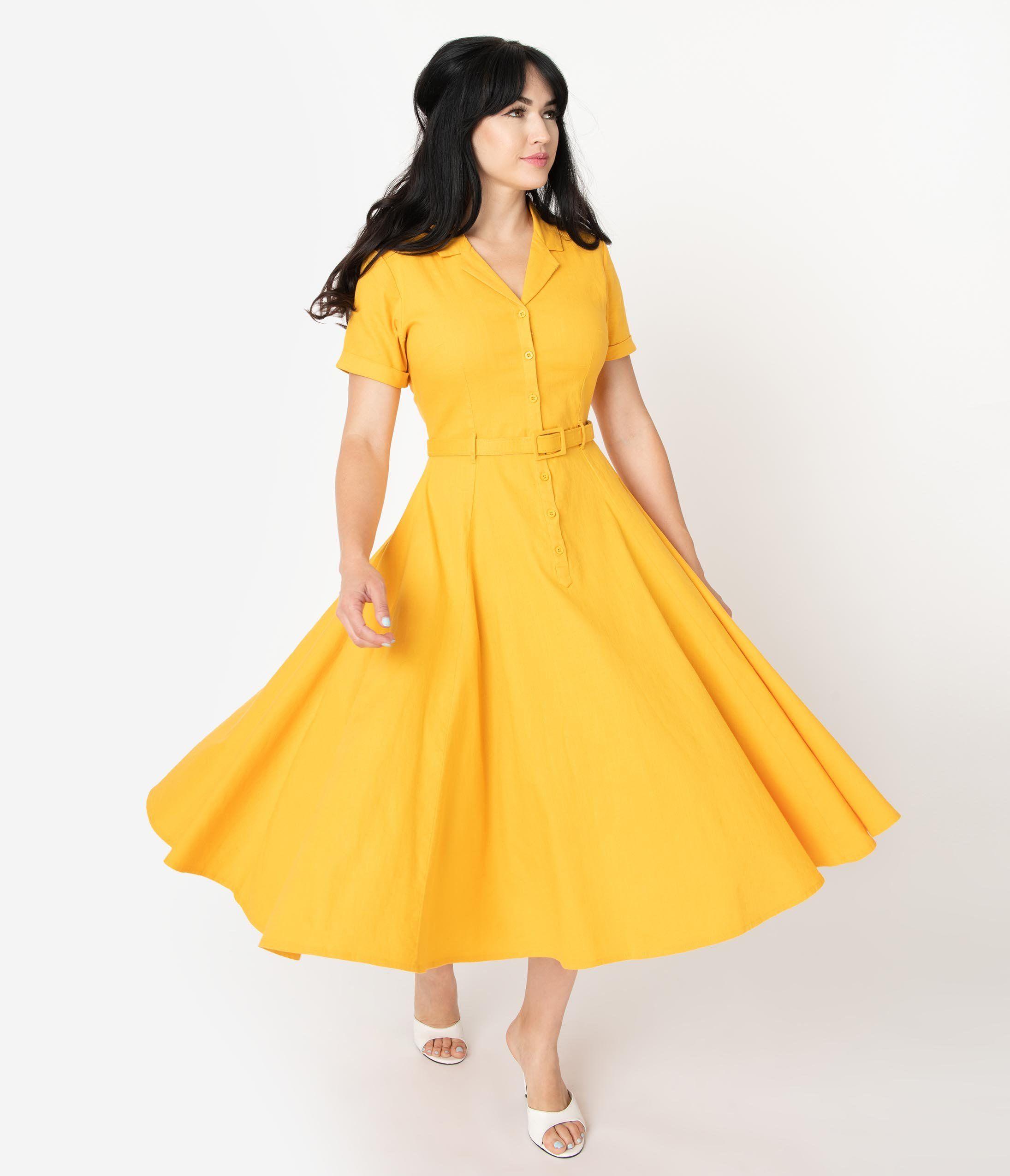 1950s Swing Dresses 50s Swing Dress Yellow Vintage Dress Yellow Swing Dress 1950s Swing Dress [ 2550 x 2190 Pixel ]